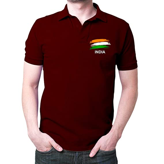 d8e1359b3 Fashion And Youth Men's Cotton Indian Flag Logo Polo T-Shirt (Maroon, Small