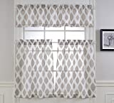 #9: Mysky Home Fashion 3 Pieces Jacquard Kitchen Sheer Tier Curtains and Valance Set, Brown