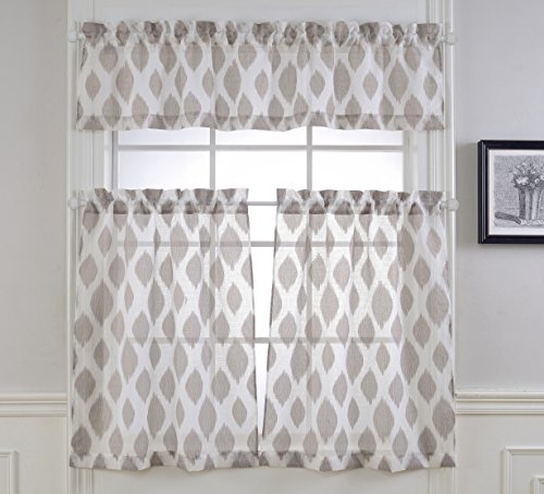 MYSKY HOME Fashion 3 Pieces Jacquard Kitchen Sheer Tier Curtains and Valance Set, Brown