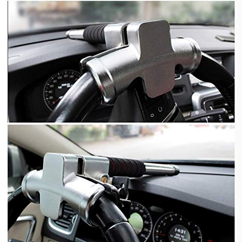 Wcxxhy Steering Wheel Lock, Secure, Anti-Theft Car Protection, Stainless Steel Universal T Lock (Color : C)