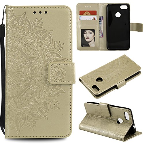 Floral Wallet Case for Huawei P9 Lite Mini,Strap Flip Case for Huawei P9 Lite Mini,Leecase Embossed Totem Flower Design Pu Leather Bookstyle Stand Flip Case for Huawei P9 Lite Mini-Gold by Leecase