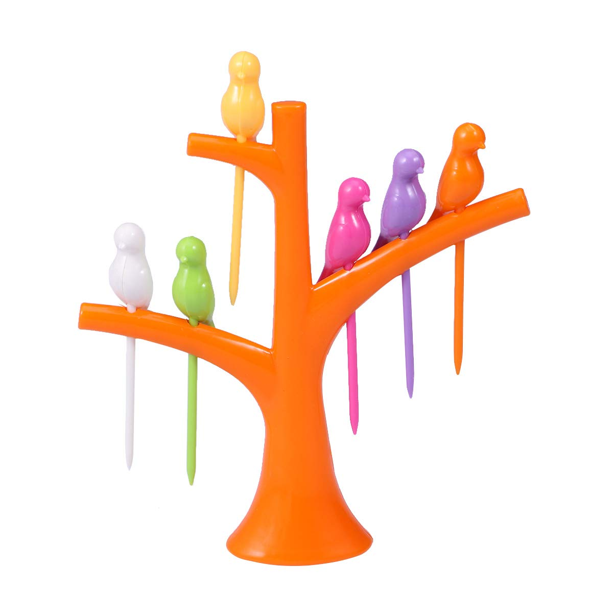 6PCS Bird Shaped Plastic Fruit Forks and 1PC Tree Shaped Holder Toothpick Fruit Tool for Party Home Decor (Orange)