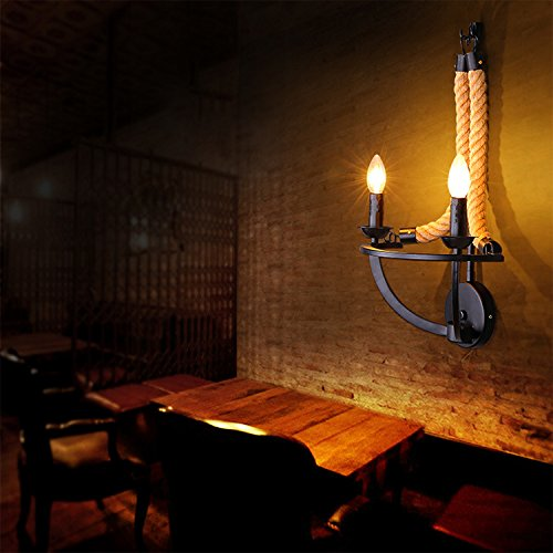 BAYCHEER Loft Seil Lampe Wandlampe Lampenfassung Wand Leuchte Antik Retro Retro Retro Ein-Flammige E27 Disign Lampe Flur Lampe Küchenlampe (399918) 8730c6