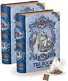 Basilur   Vol 1 Mini Tea Books in Metal Caddy   Pyramid Tea Bags   100% Pure Ceylon Tea   5 Luxury Leaf Pyramid Sachets Per Tin   Gift of Tea (Pack of 2)