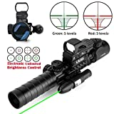 UUQ 3-9x40mm Tactical Illuminated Rifle Scope Range Finder Reticle W/Green(RED) Laser and Red