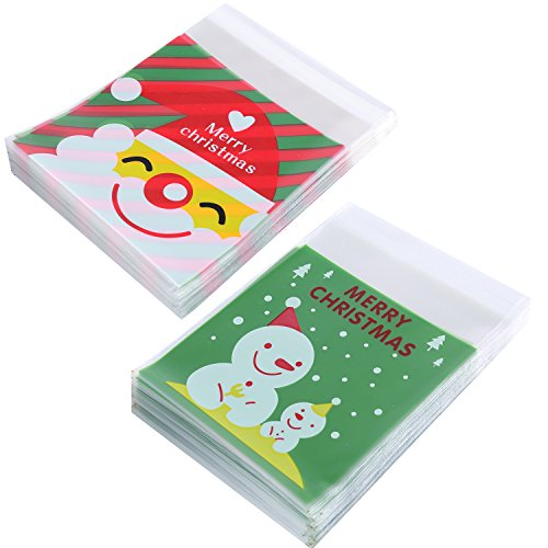 Efivs Arts 200pcs Christmas Cookie Decorating Bags Self Adhesive Bakery Candy Biscuit OPP Plastic Packaging Bags for Christmas Party Dessert(Father Christmas,Snowman-Green)