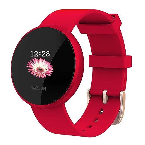 Smartwatch Mujer Reloj de Monitor de Ritmo cardíaco con Pantalla a Color Pantalla de Reloj con Efecto de Despertador automático IP68 Reloj Inteligente Hombres Rojo
