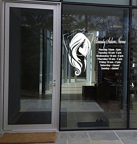 Custom Wall Window Decal Stickers Beauty Hair Salon Name Hours Phone number g001 (Windows Telephone)