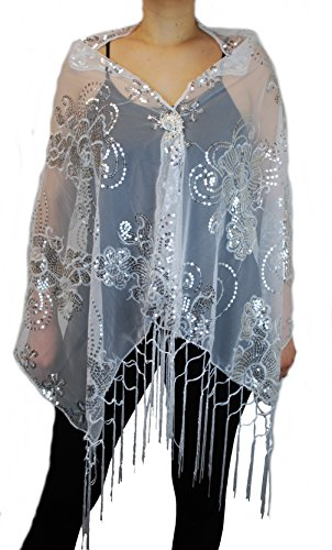 Love My Seamless Womens Mother Of The Bride Floral Sequin Design Fashion Shawl With Brooch Poncho Cover up (White/Silver)