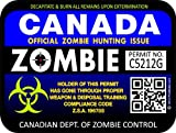 "ProSticker 1209 (TWO pack) 3""x 4"" Zombie Series ""Canada"" Hunting License Permit Decal Sticker"