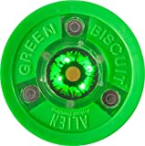 Green Biscuit Alien LED Light Passing Stick Handling Training Hockey Puck