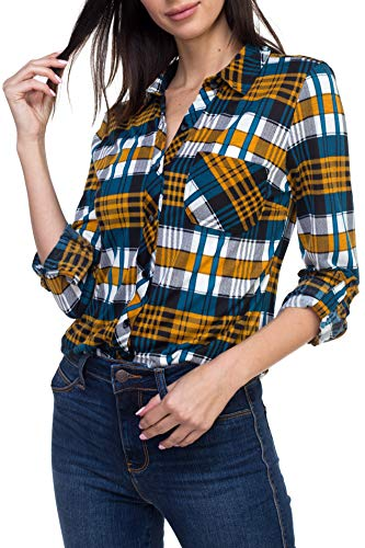 Urban Look Womens Long Sleeve Plaid Button Down Flannel Shirt (Large, Teal ()