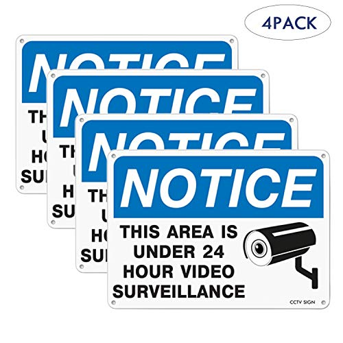 (Westshine 4 Pack Video Surveillance Sign,