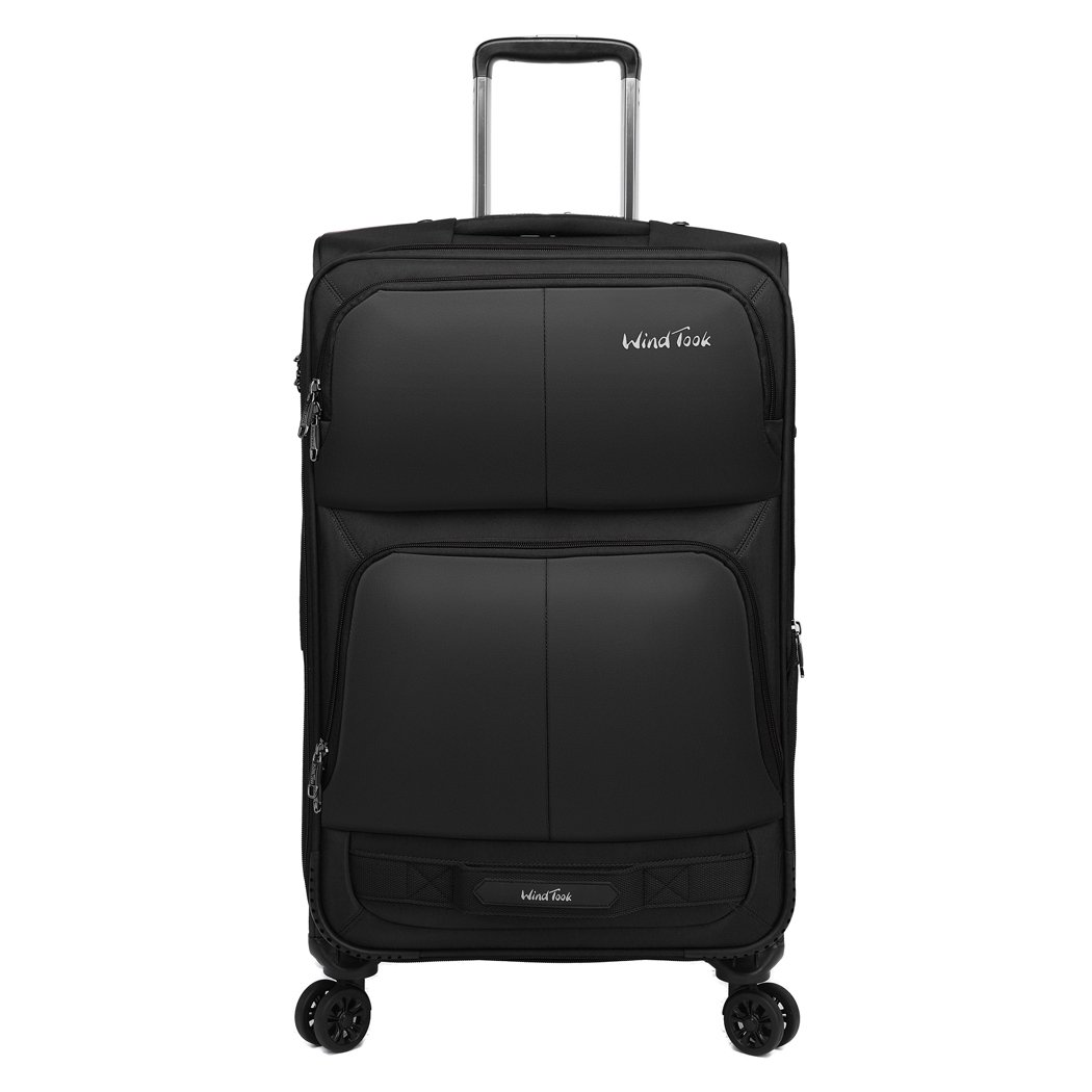 Windtook 3 Pieces Expandable Luggage Set Softside Carry on Suitcase Bag for Travel and Business (20''/24''/28'' with Spinner Wheels) Black