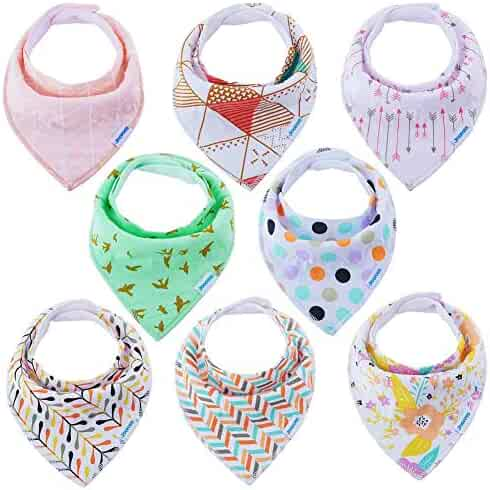 Baby Bibs Bandana Bibs for Boys and Girls, Drool Bibs for Toddler Teething 8 Pack by YOOFOSS (New Version)
