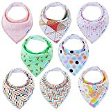 Baby Bibs Bandana Bibs for Boys and Girls, Drool Bibs for Toddler Teething 8 Pack by YOOFOSS (New Version): more info