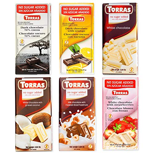 Torras Sugar Free and Gluten Free White and Dark Chocolate Bars - Assorted (6 Pack)