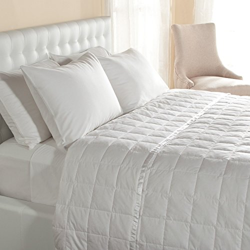 Summer Weight (Hypoallergenic 230 TC Down Blankets With Satin Trim - Light Weight - Perfect For Summer - Available In White & Ivory - 94