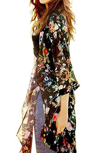 Women Flowy Sheer Crop Sleeves Loose Chiffon Kimono Cardigan Blouse Top Black XX-large