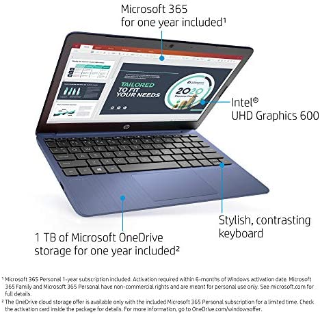 2021 Newest HP Stream 11.6-inch HD Laptop, Intel Celeron N4020, 4GB RAM, 64GB emmc, Windows 10 Home in S Mode with Office 365 Personal for 1 Year, Royal Blue + Oydisen Cloth