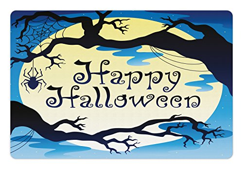 Lunarable Halloween Pet Mat for Food and Water, Happy Quote Spooky Night Moon and Branches Shadows Haunted Lights Drawing Print, Rectangle Non-Slip Rubber Mat for Dogs and Cats, Yellow Black -