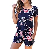 Jumpsuits for Women Floral Short Sleeve Pocket Beachwear Romper Jumpsuit Bodysuit (S, Navy)
