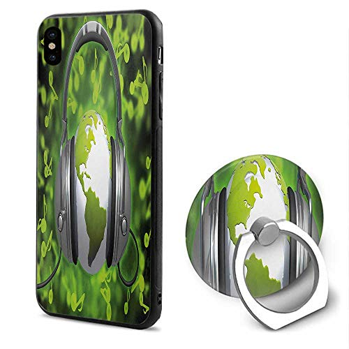 (World iPhone x Cases,World of Music Themed Composition DJ Headphones Musical Notes and Earth Globe Lime Green Grey,Design Mobile Phone Shell Ring Bracket )