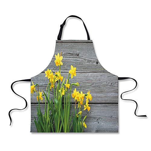 iPrint Cooking Apron,Yellow Flower,Bouquet of Daffodils on W