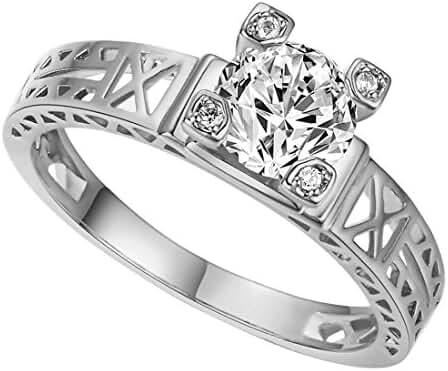 Eiffel Tower Design 18k White Gold Plated Romantic Cubic Zirconia Diamond Finger Rings
