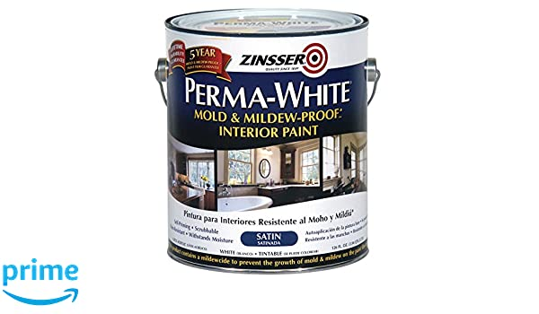 Rust-Oleum 2711 White Zinsser Perma-Mold and Mildew-Proof Interior Satin Paint, 1 gal Can (Pack of 2): Amazon.com: Industrial & Scientific