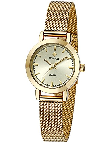 WWOOR Women's Quartz Dress Watches Waterproof Stainless Steel Thin Mesh Band Wrist Watch
