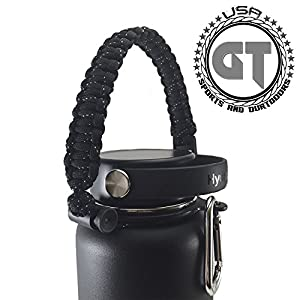 Hydro Flask Water Bottle Paracord Handle - Durable Paracord Carrier Survival Strap Cord with Safety Ring and Carabiner for Hydro Flask Wide Mouth Water Bottles - Safety Design(Black Speckled)