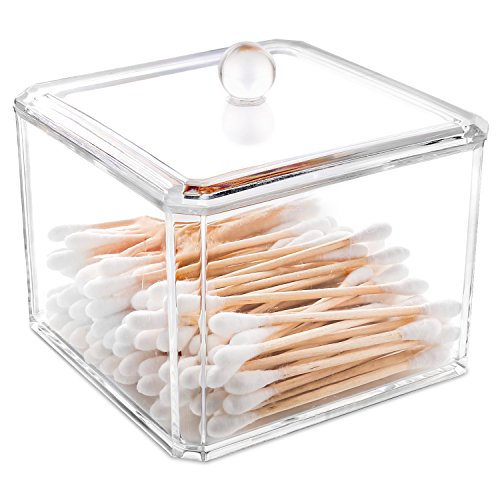 Luxspire Clear Acrylic Q-Tip cottonswab Storage Box with Lid, Cotton Ball Swab Holder Cotton Bud Storage Box, Cosmetics Makeup Storage Holder Box Organizer (Clear Acrylic Lid Organizer)