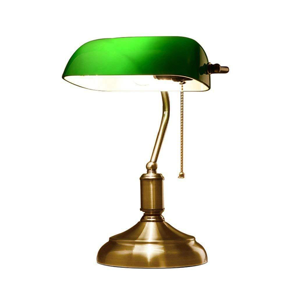 HXMSXROMID Tischlampe, Vintage Desk Reading Lampen-Bankers Lampers Lampers Lampenschirm