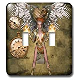3dRose Heike Köhnen Design Steampunk - Steampunk lady with steampunk wings - Light Switch Covers - double toggle switch (lsp_287294_2)