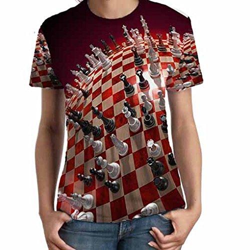 チェスゲームボードの女性のT Fullprint TシャツサイズL   B06Y425JZS