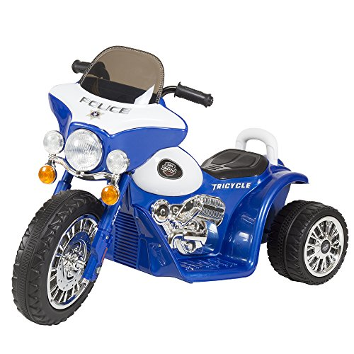 3 Wheel Mini Motorcycle Trike for Kids, Battery Powered Ride on Toy by Rockin ' Rollers – Toys for Boys and Girls, 2 - 5 Year Old – Police Car Blue