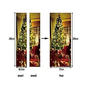 CHengQiSM 3D Door Sticker Wallpaper Decals Wall Stickers Murals Christmas Tree Wall Decals for Home Kitchen Livingroom…