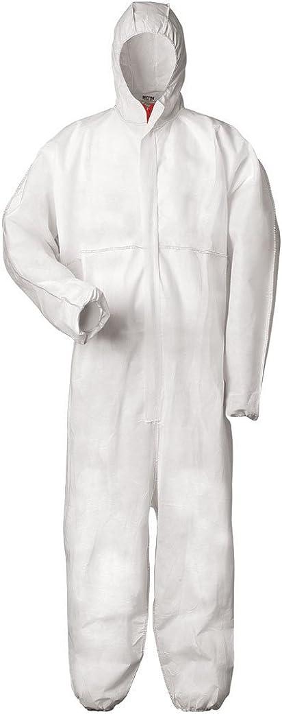 Traje protector multiuso, ofrece protección electrostática, contra sustancias químicas y contra partículas radiactivas; categoría III, tipos 5 y 6 extra-large blanco