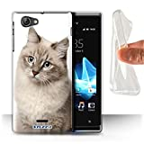 STUFF4 Gel TPU Phone Case / Cover for Sony Xperia J (ST26i) / Siberian Design / Cat Breeds Collection