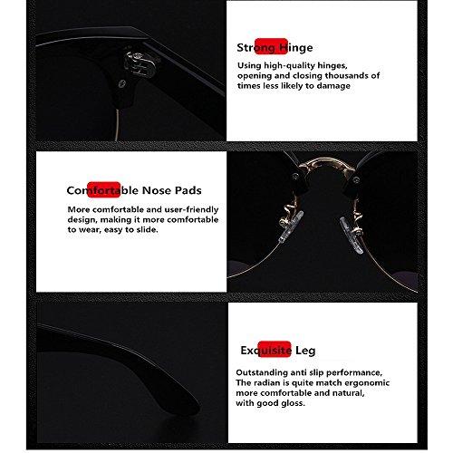KOMEISHO de TR90 Vacances la la des polarisées UV Nuances Designer Femmes Vintage air nouveauté Conduite de Soleil des en Plein Rimless Gris Semi pour Brillants Lunettes Lunettes Les wwfqHTrA