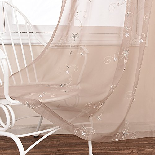 NICETOWN Sheer Window Panels Voile Curtains - Rod Pocket Flower Embroidery Curtain Sheer Voile Panel for Bedroom Window (Set of 2, W60 x L84, ()