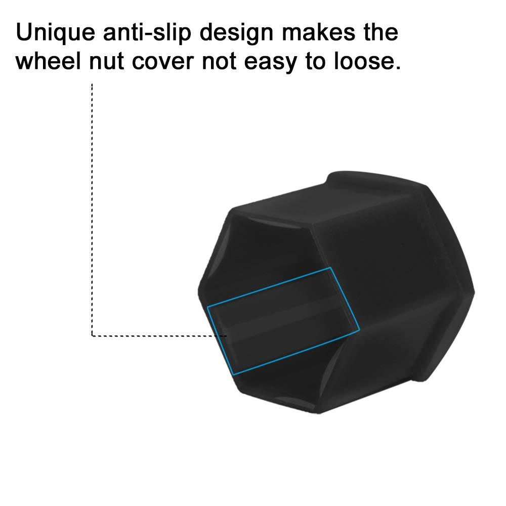 SENZEAL 20/X 19/mm Universal Hex Wheel Dado Bolt Protector Cap Wheel Lug Dado Bolt Carcasa para Coche Negro//Gris con 1/X Dado Rueda de Instrumento de eliminaci/ón 19mm Negro
