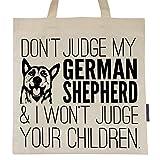 Don't Judge My German Shepherd Eco Friendly Cotton Tote Bag