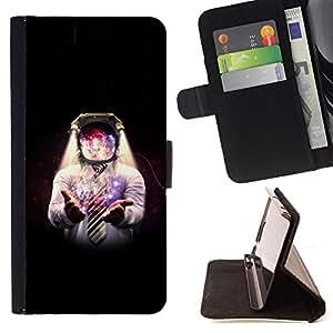 KingStore / Leather Etui en cuir / HTC One M9 / Espacio Galaxy Hombre