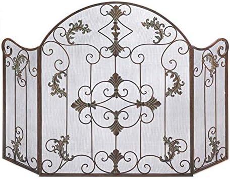 暖炉 スクリーン ガーデン暖炉スクリーン装飾ゴールド- 3パネル錬鉄スパークフレームガード ウッドバーナー/直火用立ちゲート、 ワイド51インチ