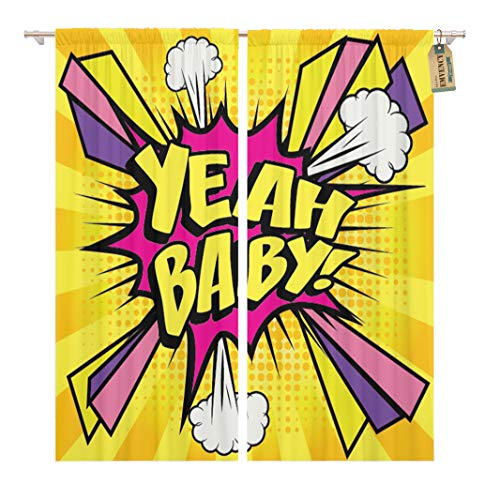 (Golee Window Curtain Funny Pop Comics Yeah Baby Speech Bubble Cartoon Explosion Home Decor Rod Pocket Drapes 2 Panels Curtain 104 x 84 inches)