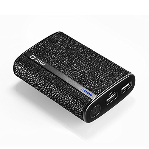 Zilu Milano Premium Leather 9000mAh Dual USB Portable Charger External Battery Pack Backup Power Bank with 2.1A Output for Smart Phones and Tablets - Black