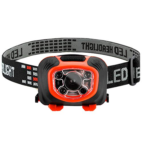 LED Headlamp Flashlight for Camping - Hunting Trekking Hiking Road Trips and More - 3 Light Modes - Red Light and Strobe Modes - 110 Lumens Brightness - Sensor Operated - Fits Adults and Kids