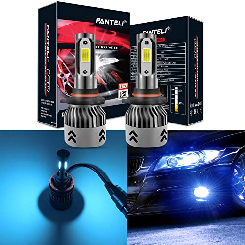 FANTELI 9005 (HB3) 8000K Ice Blue LED Headlight Bulbs All-in-One Conversion High Beam Kit - 72W 8000LM 9145/9140/H10 Fog Driving Lights Extremely Bright ()